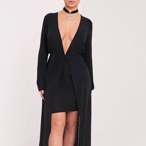 PLT Shape Katy Black Slinky Plunge Maxi Dress